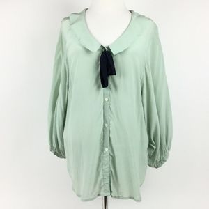 ANTHROPOLOGIE ODILLE Mint Sheer Silk Top